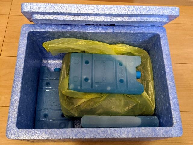 保冷剤が詰められたワタミの宅食の宅配ボックス