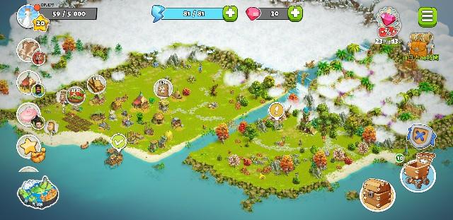 ファミリーアイランドの開拓で広げられる海岸の位置を示した画面