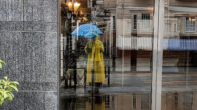 雨の中佇む黄色いレインコートの女性の写真