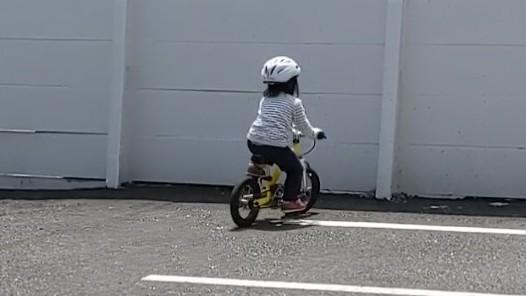 自転車に乗った2歳児の写真