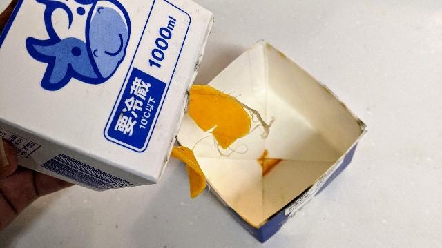 牛乳パックプランターの劣化状況の写真
