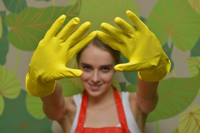 排水口の掃除とゴム手袋