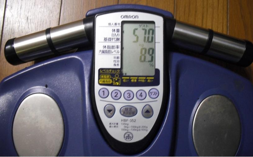 朝比奈の体重と体脂肪率の証拠画像①
