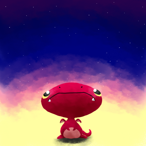 満月を見つめるぷちゴン|ぷちゴン