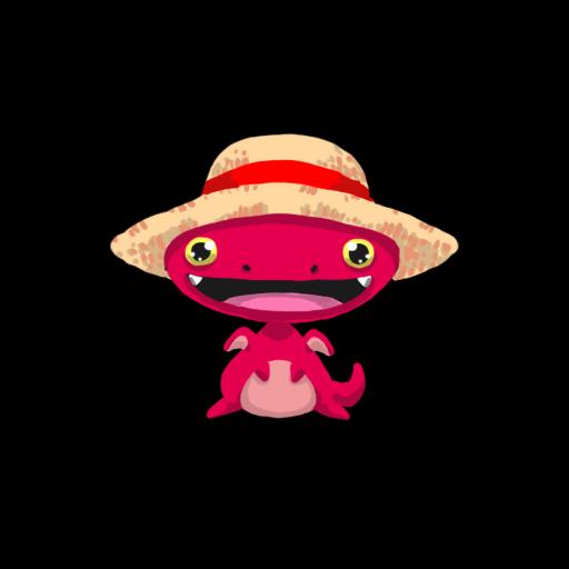 麦わら帽子のぷちゴン(背景黒)|ぷちゴン