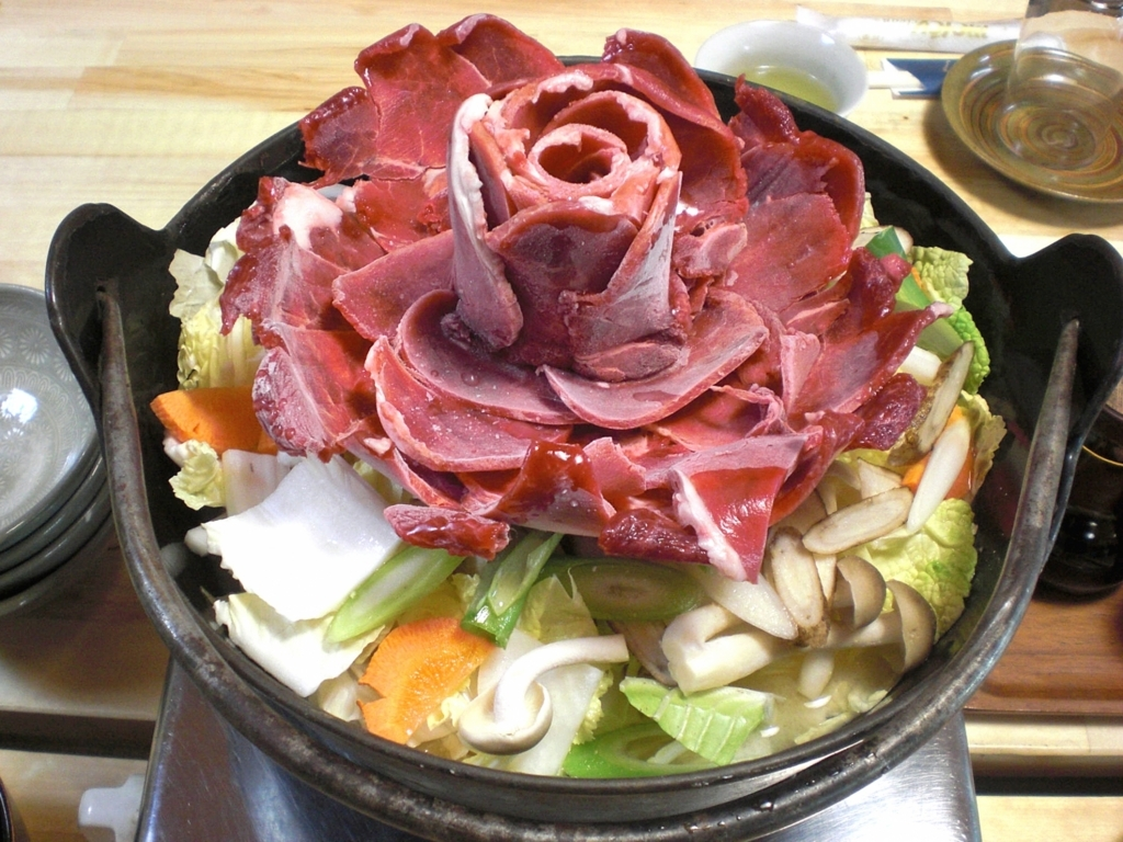 イノシシの肉の牡丹鍋