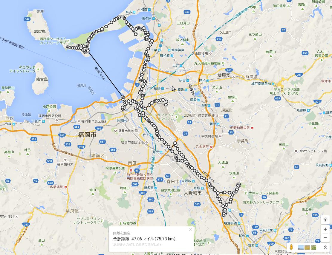 福岡遠征2日目の全旅程地図