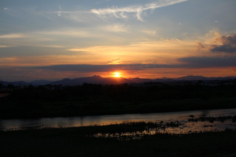 福生市南田園 多摩川からの日没の風景の写真1