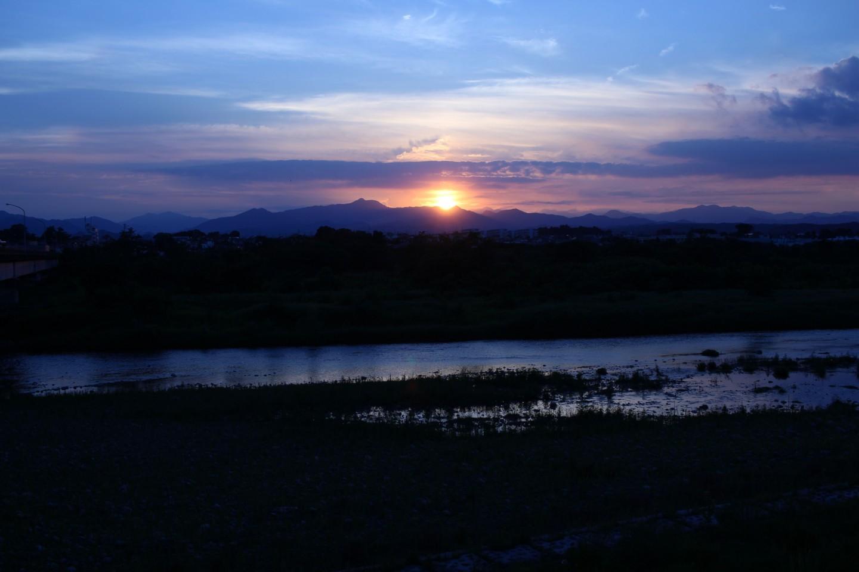 福生市南田園 多摩川からの日没の風景の写真2