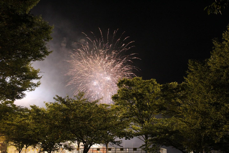 ギラヴァンツ北九州 VS ジェフ千葉の試合終了後の花火の写真