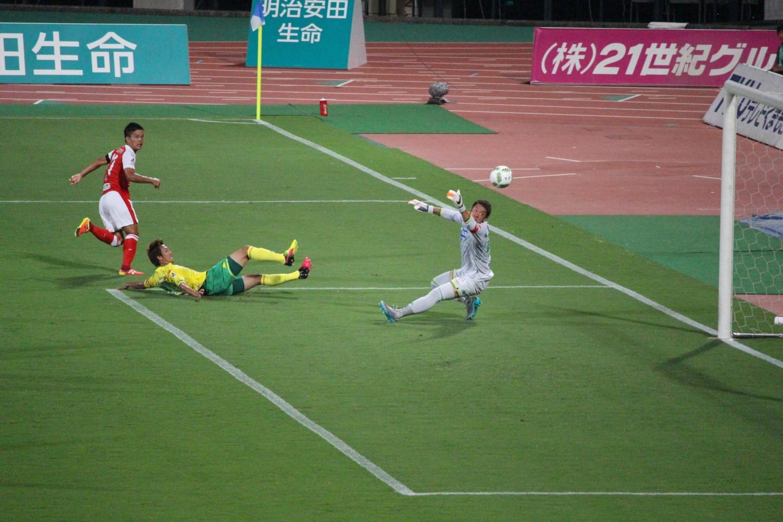 J2 第29節 熊本 VS 千葉 平繁選手のゴールシーンの写真