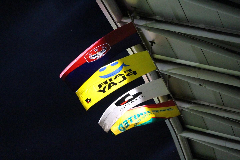 J2 第30節 千葉 VS 岡山 スタジアムのフラッグの写真