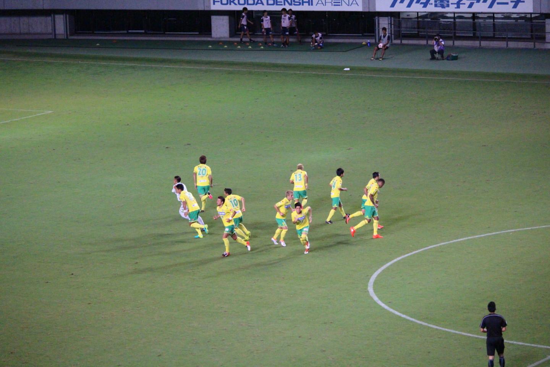 天皇杯1回戦 ジェフ千葉 VS 北海道教育大学岩見沢校 後半の円陣ダッシュの写真