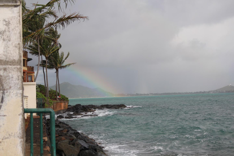 ラニカイ・ビーチから見える虹の写真