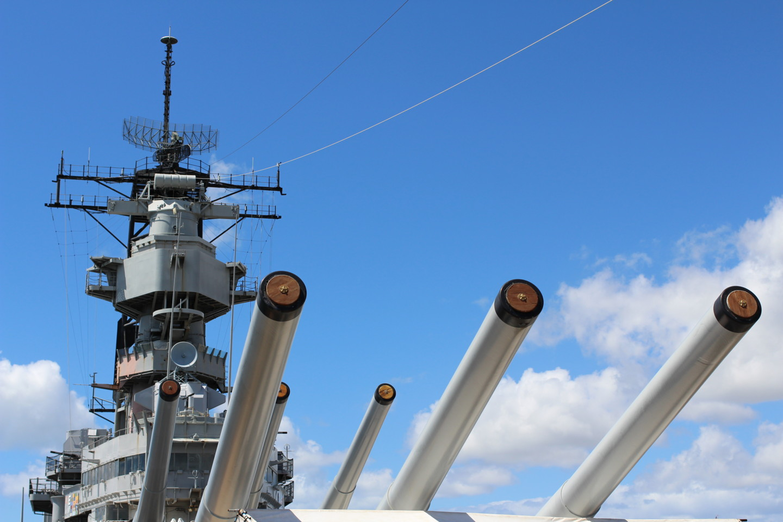 戦艦ミズーリの前面からの写真
