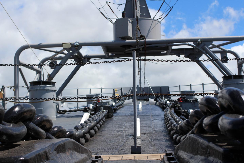 戦艦ミズーリのイカリの鎖の写真