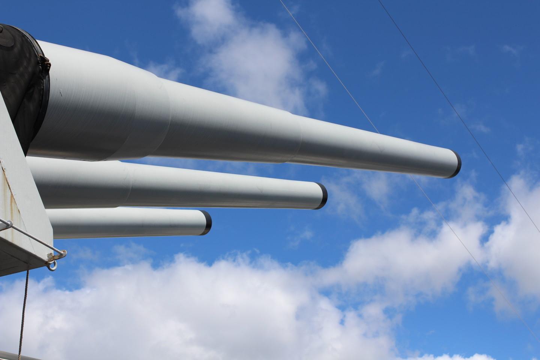 戦艦ミズーリの主砲の写真