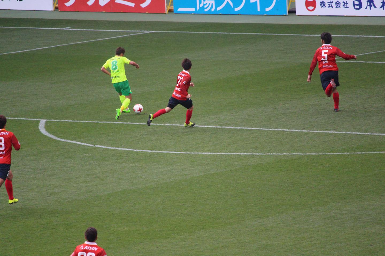 J2 第3節 千葉 VS 名古屋 清武選手のゴールシーンの写真