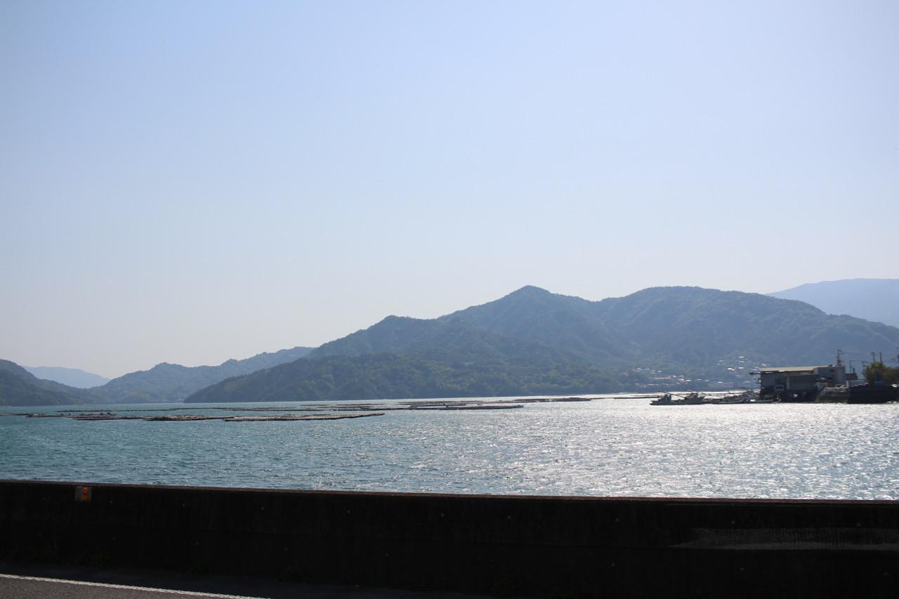 呉市 柏島あたりの牡蠣養殖場の写真