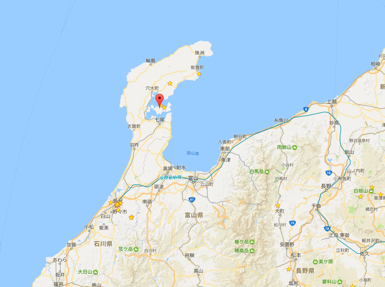 Google Map 能登島の場所