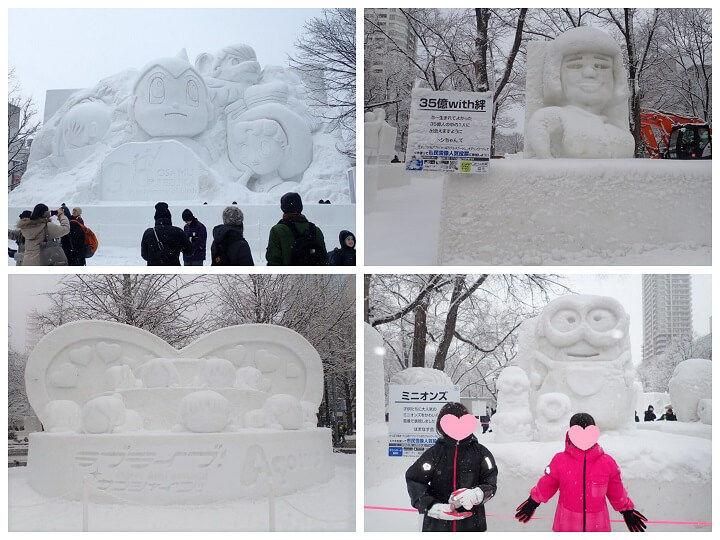 札幌雪まつりのキャラクター系雪像
