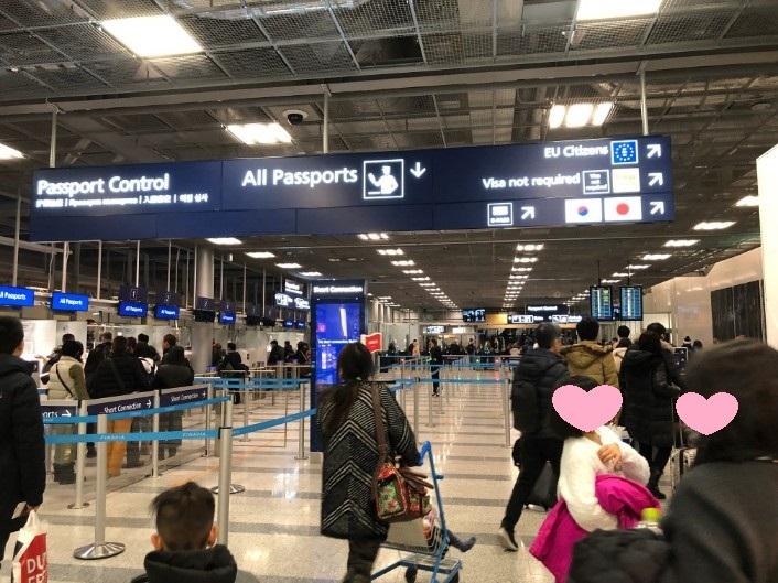 ヘルシンキ空港のパスポートコントロール