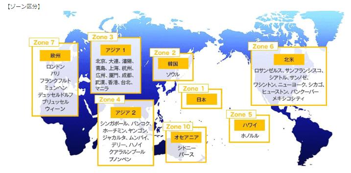 ANAの国別ゾーン区分