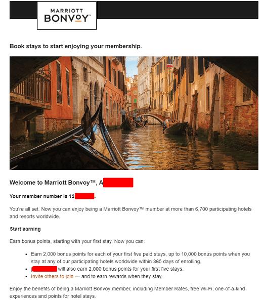 マリオット紹介プログラムを利用して登録した後マリオットから送られてくるメール