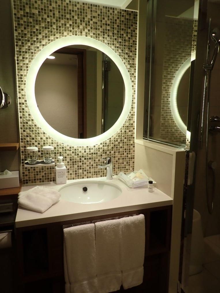 シェラトン沖縄サンマリーナリゾートのパーシャルダブルルームのバスルームの洗面所