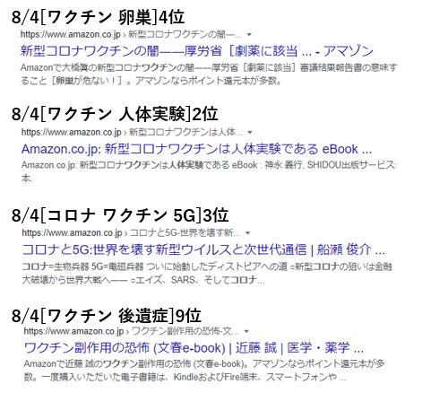 Google Amazonを経由して情報が上位表示されている例