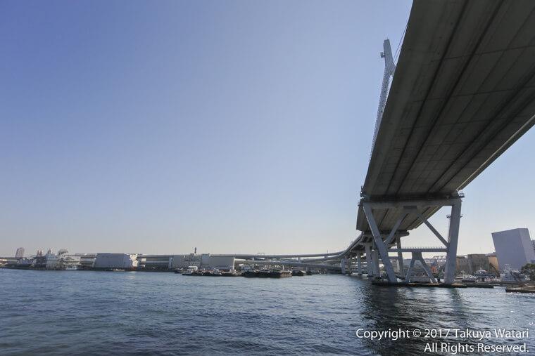サンタマリア号が橋の下を通る