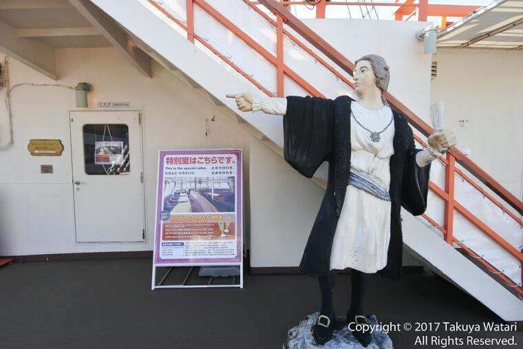 コロンブスがサンタマリア号の中で指さしている