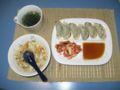 包装米飯のレンジアップ式炊き込みチャーハン・しそ餃子・キムチ・わ