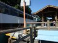 城ヶ崎海岸駅・足湯から通過列車を撮る