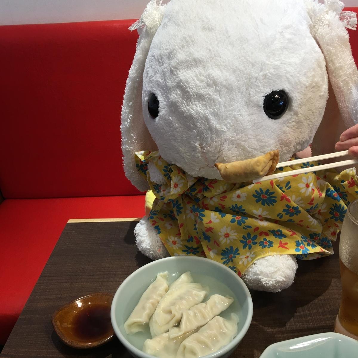 うさ次郎は餃子が大好きです