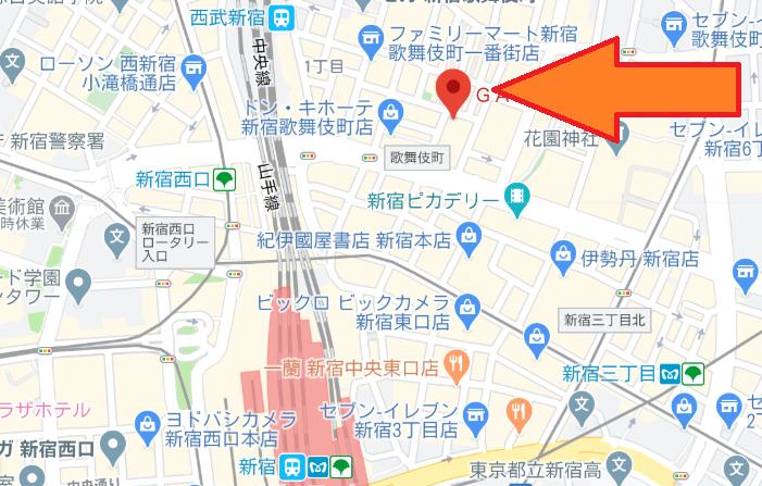 アミューズ直営のゲームセンター新宿歌舞伎町店地図