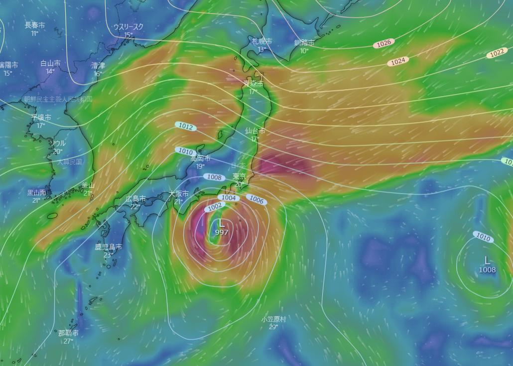 台風12号関東接近 風速35m暴風警戒