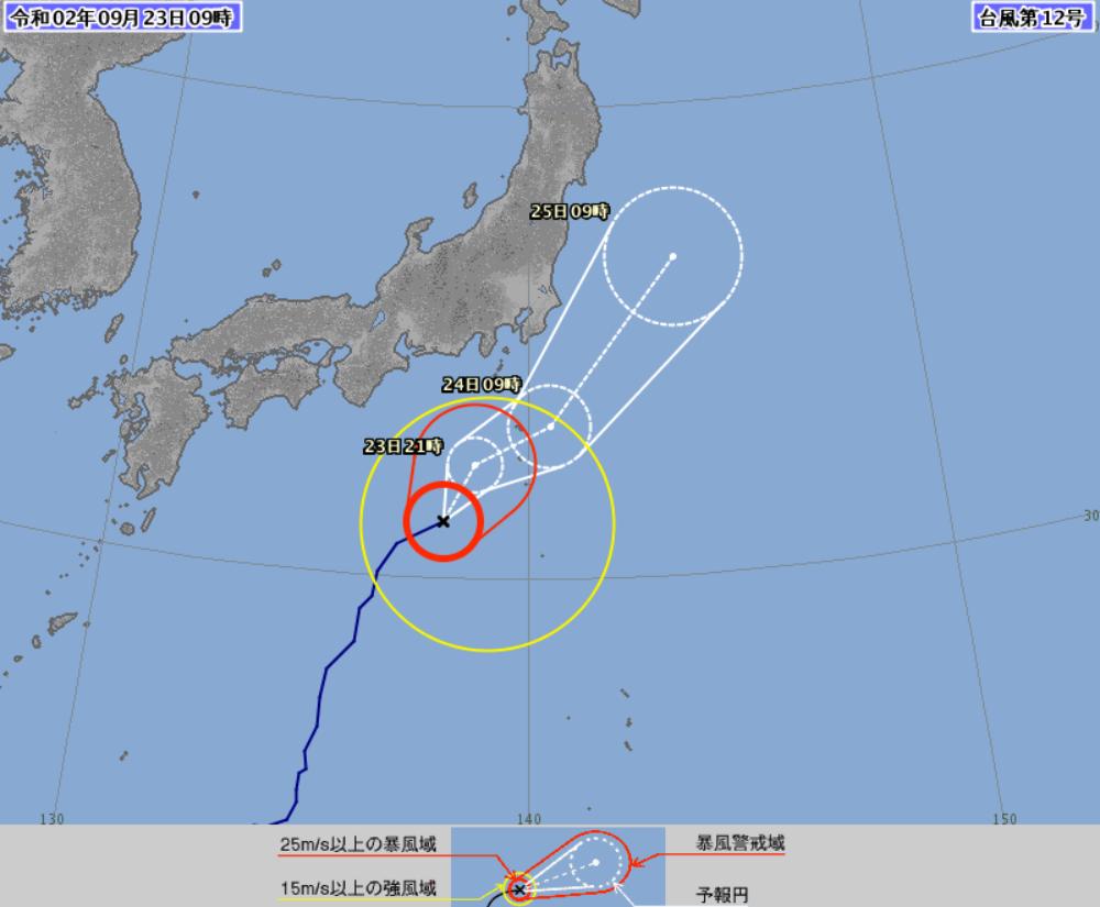 台風12号の進路 気象庁の予想