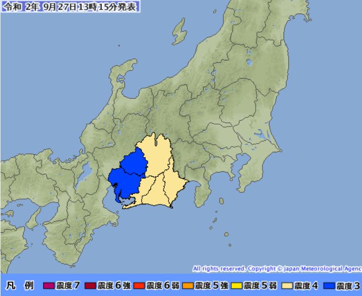 震源地 静岡県西部  長野県最大震度 4