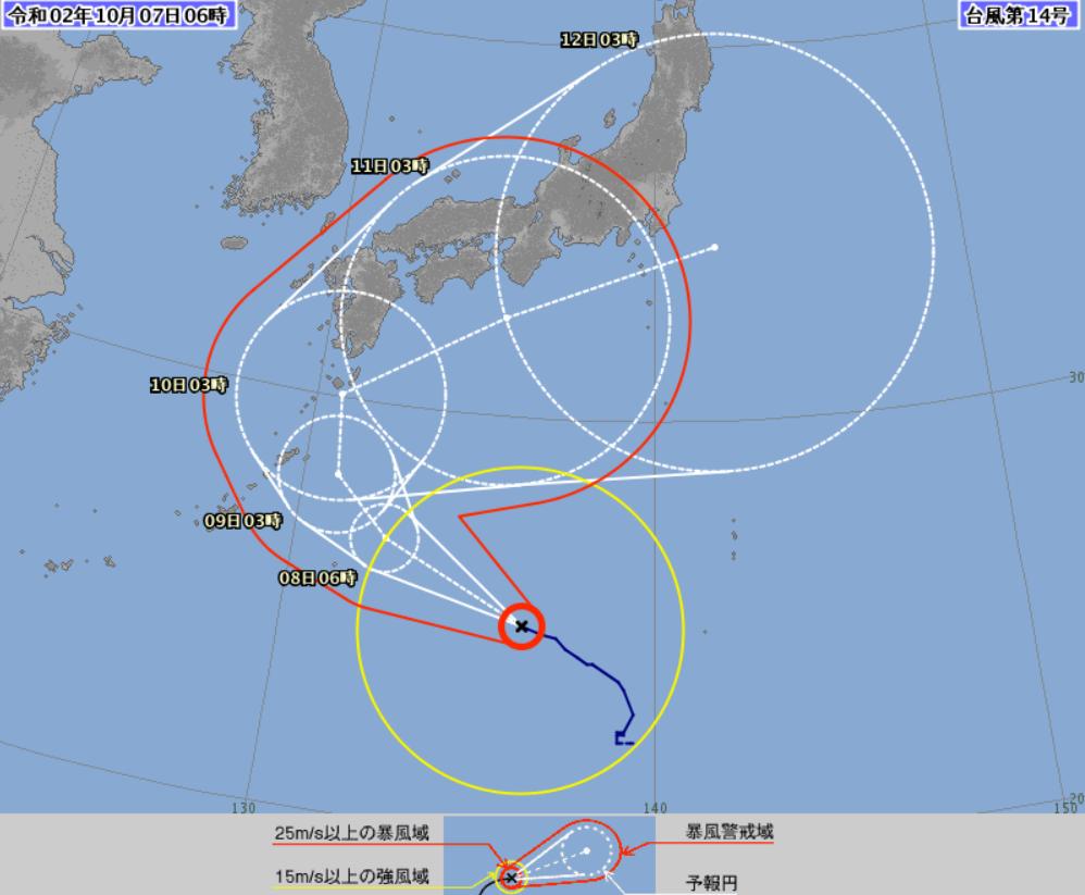 驚異的進路台風14号の予想進路