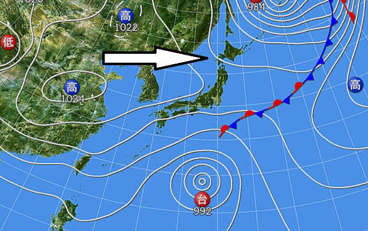 台風14号進路は太平洋高気圧と大陸高気圧の強弱