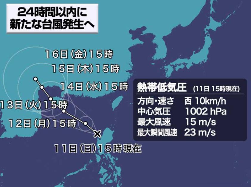 台風16号発生12日15時台風に発達