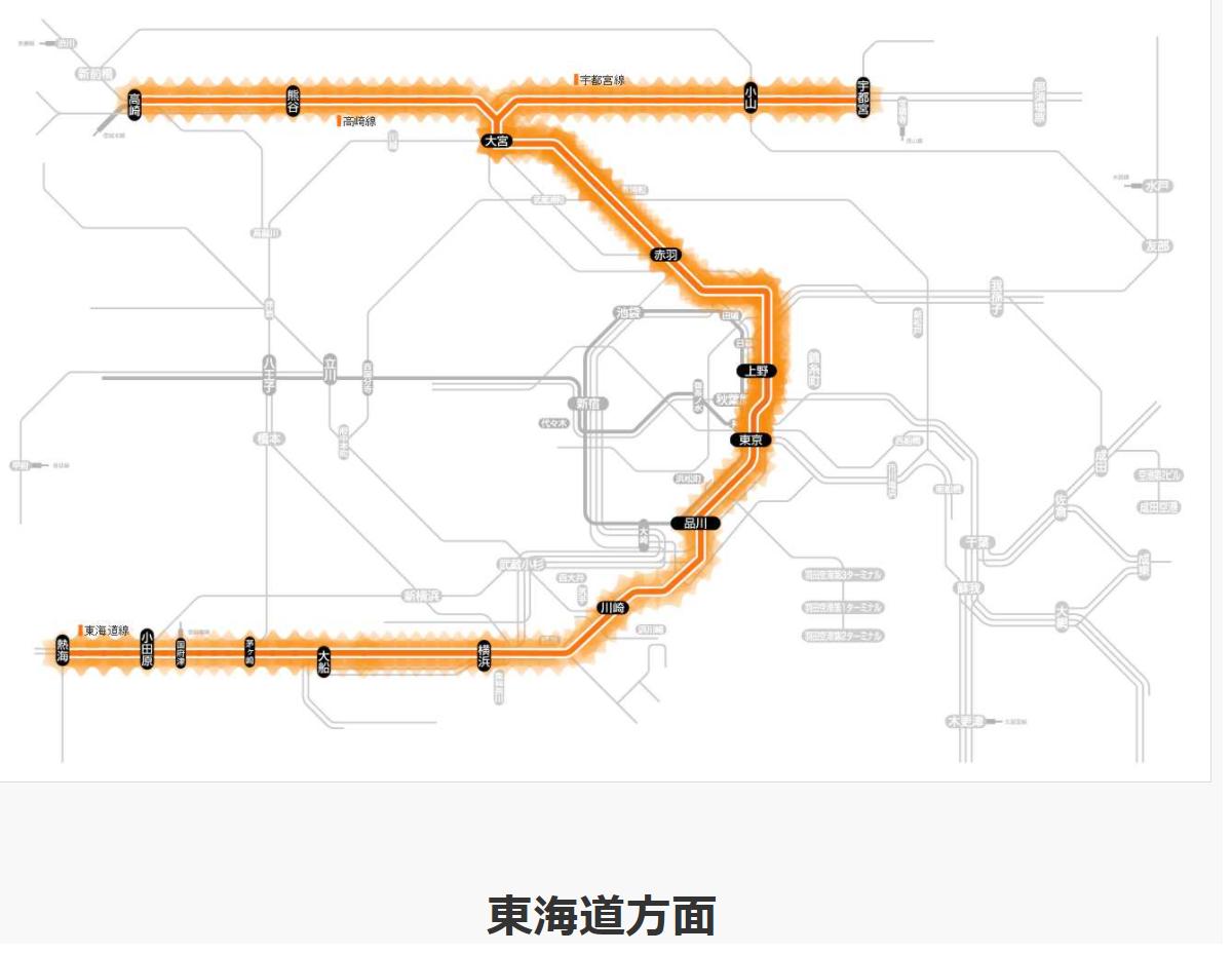 8:30現在の東海道線の運行状況遅れ