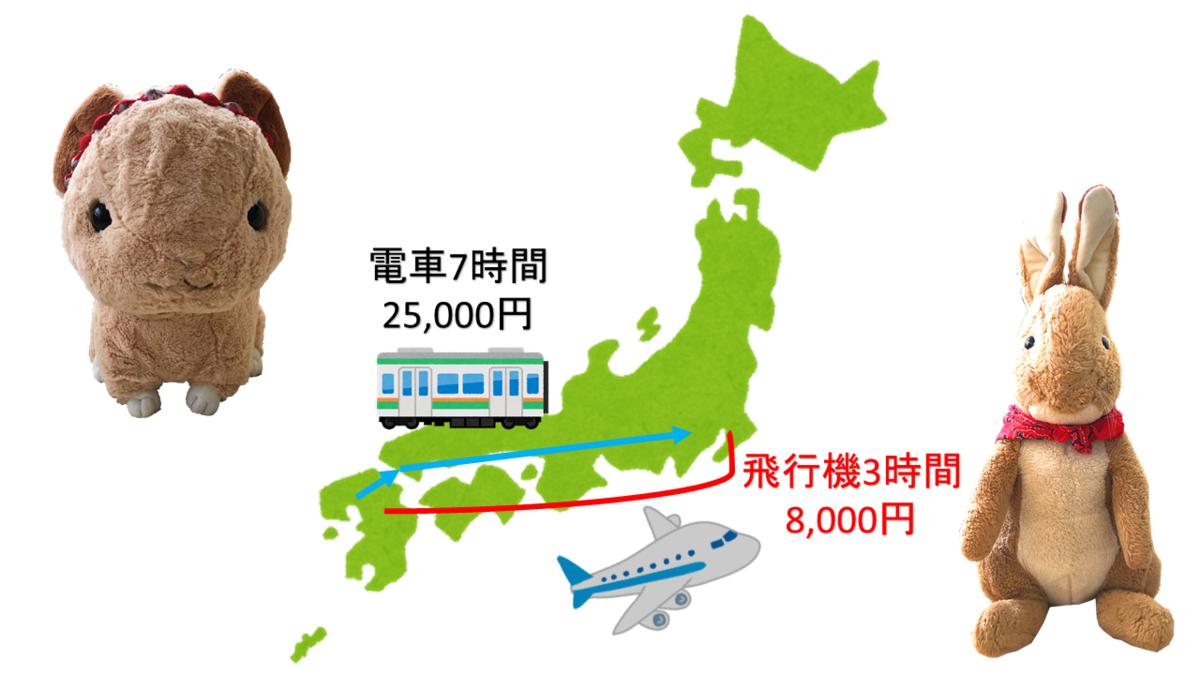 飛行機なら九州から東京まで3時間