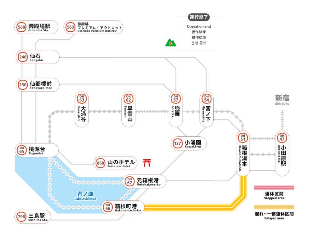 箱根の乗り物 移動手段 交通機関 バス ケーブルカー ロープウェイ!運行状況