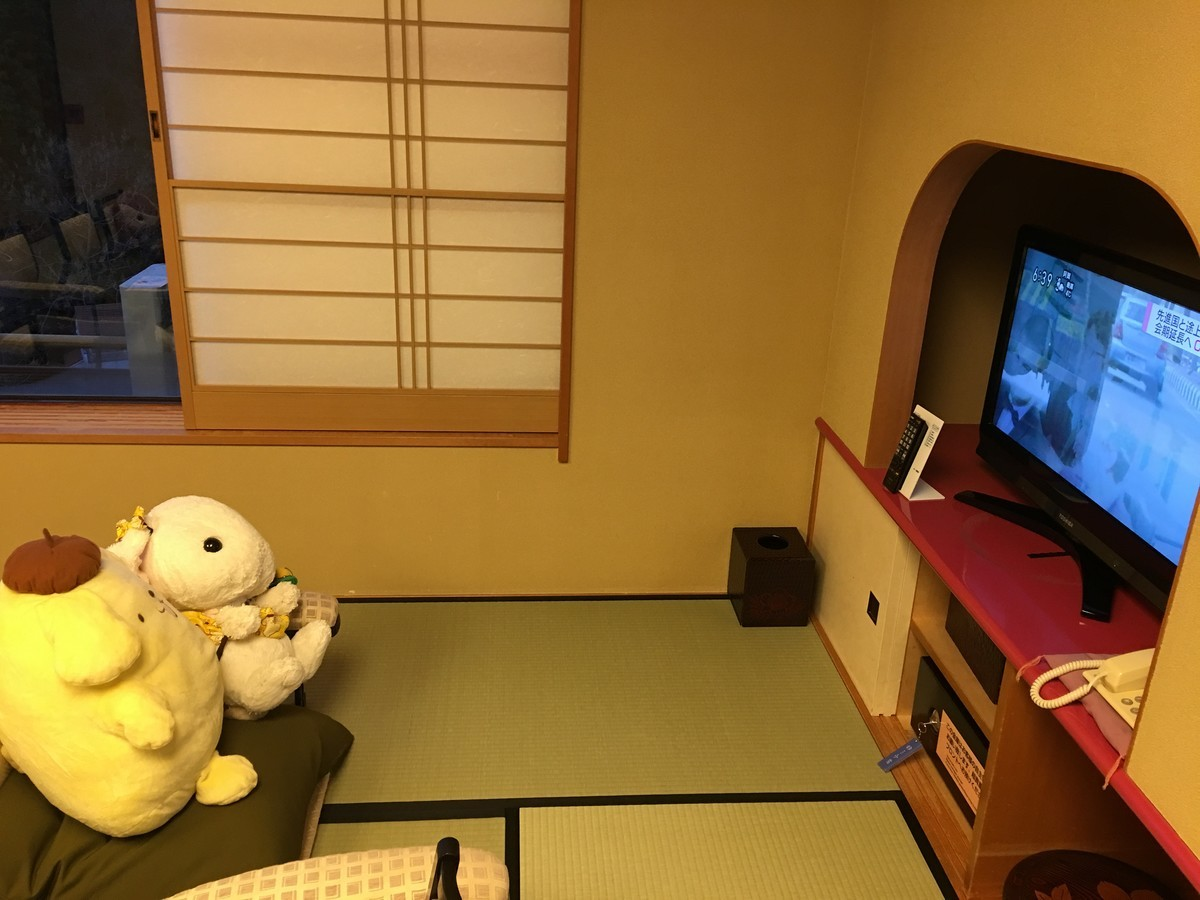 お部屋には大型テレビ付き