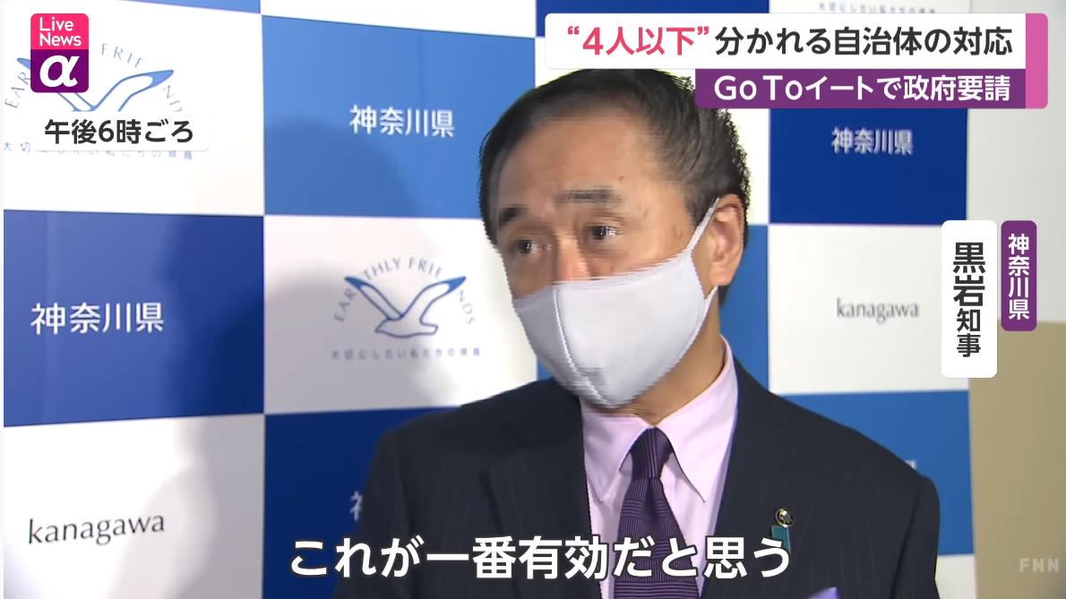神奈川県知事 4人以下に反対