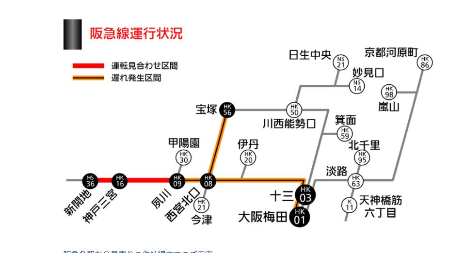 阪急神戸本線脱線 運休 始発から運転見合わせ 振替輸送 夙川~新開地駅間