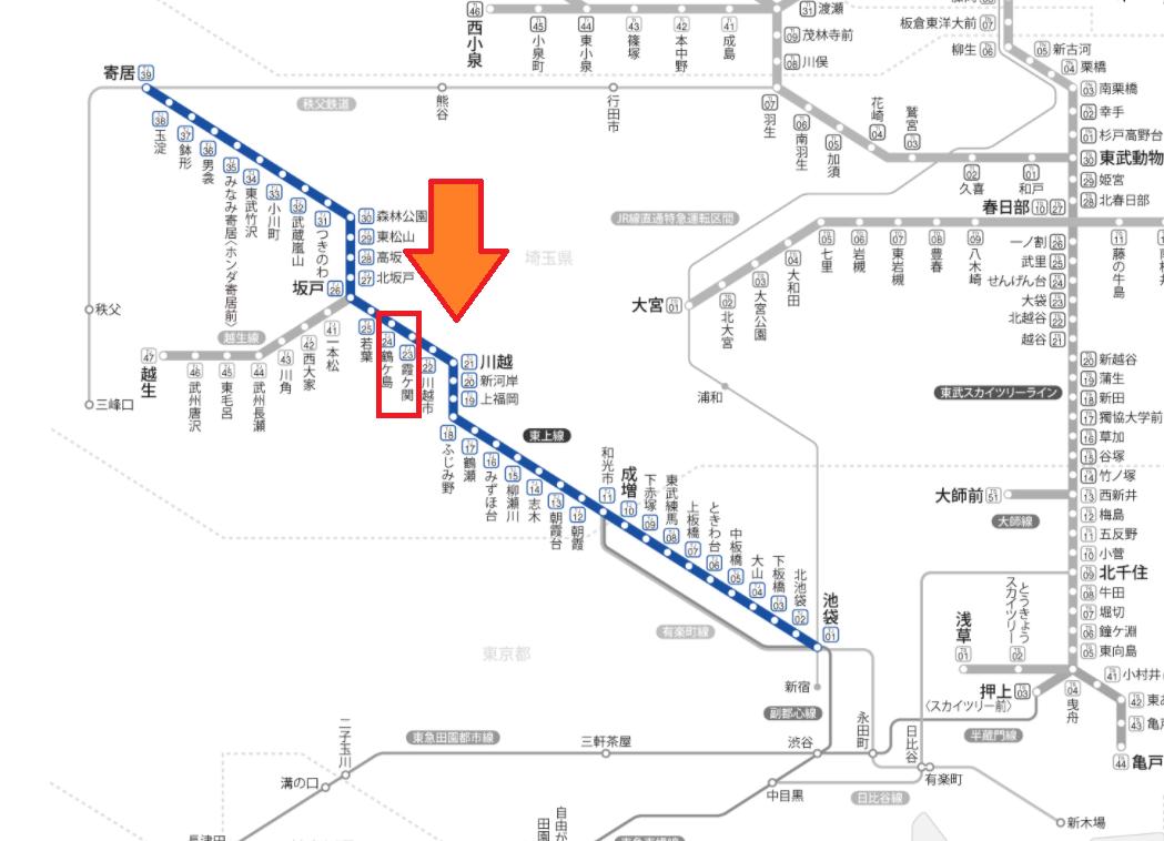 東武東上線 影響が出ている区間