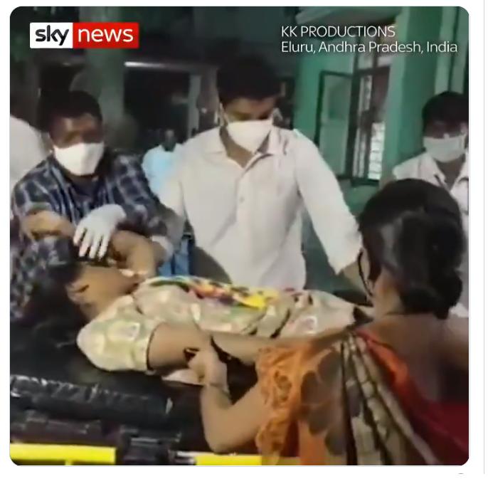 インド南東部アンドラプラデシュ州エルール800人以上が原因不明の病気1人死亡!